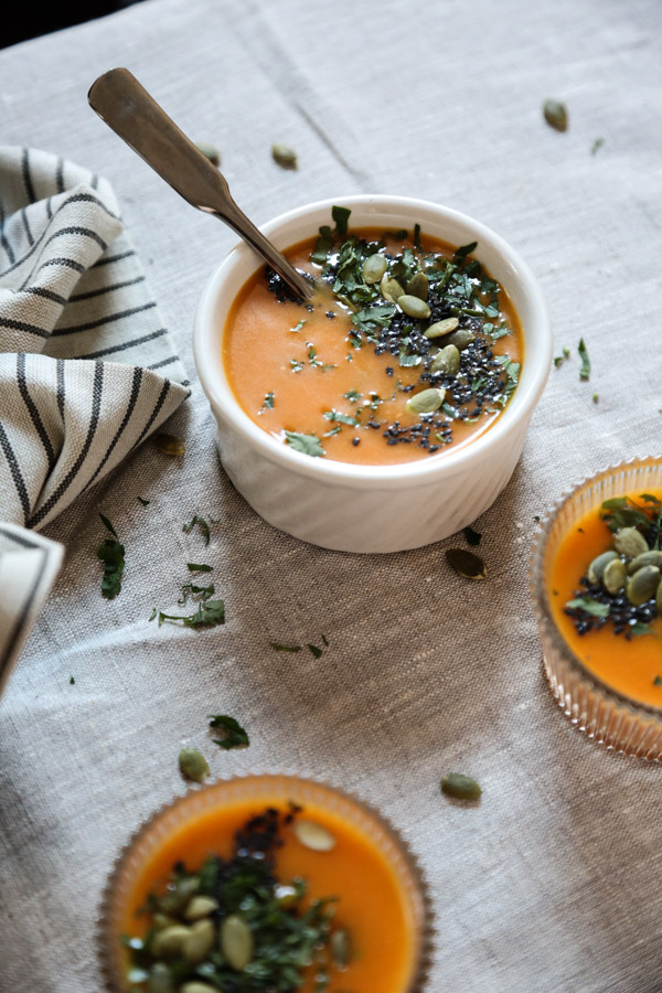 Easy Creamy Roasted Carrot Soup with Potatoes, Leeks, Miso and Black Sesame