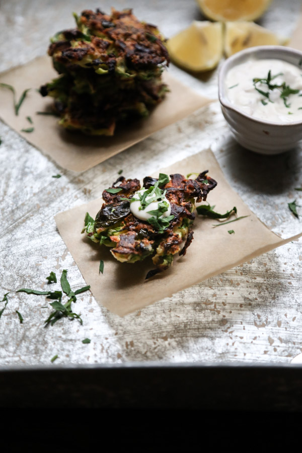 Gluten-Free Brussels Sprout Latkes with Anchovy Aioli | Healthy Appetizers