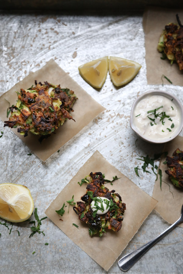 Gluten-Free Brussels Sprout Latkes with Anchovy Aioli   Healthy Appetizers