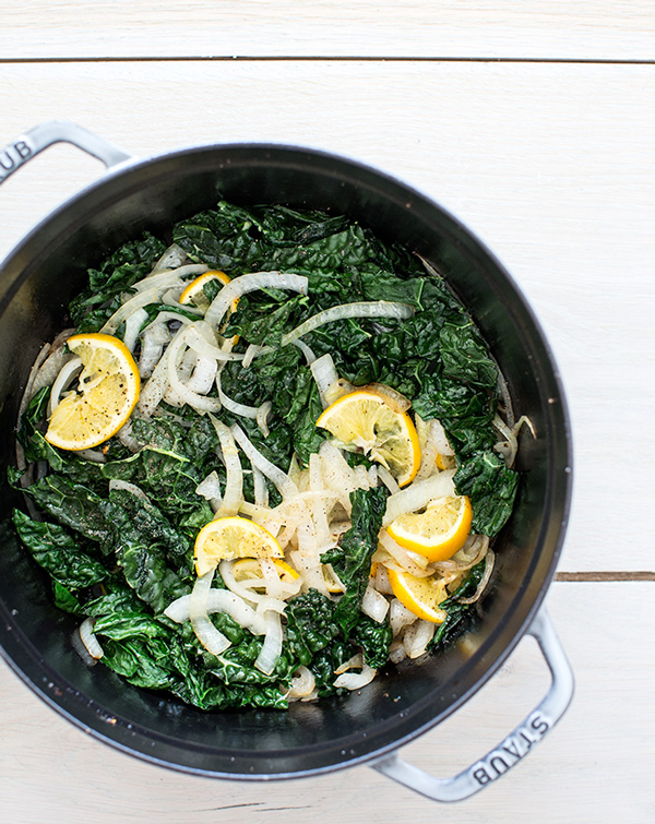 The Best Healthy Farmer's Market Thanksgiving Sides From What's Cooking Good Looking | Jodi Moreno | Braised Kale and Cauliflower with Meyer Lemon