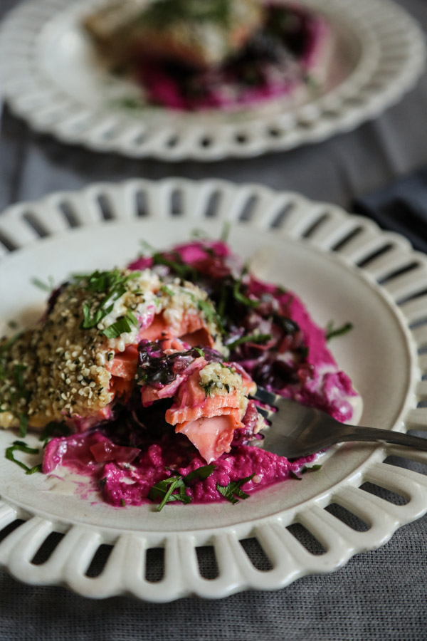Hemp Crusted Salmon with Beet Hummus, Greens, and Lemon-Tahini Sauce | Healthy Fish Recipes