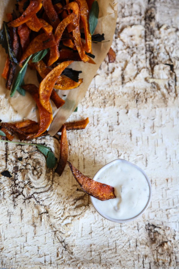 Baked Butternut Squash Fries with Sage and Anchovy Aioli | Healthy Comfort Food Recipe