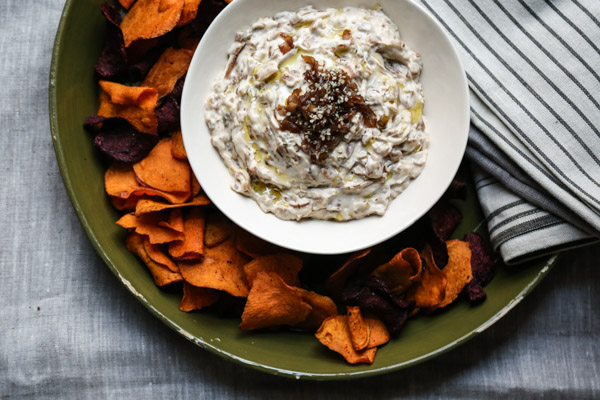 Healthy French Onion Dip Recipe with Caramelized Onions, Shallots and Leeks. Served with Sweet Potato Chips! No Soup Mix Required.
