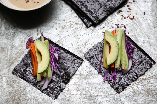 Sunshine Nori Wraps with Spicy Miso Tahini Sauce