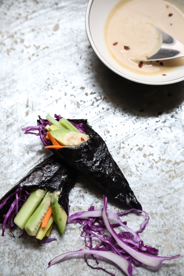 Sunshine Nori Wraps with Spicy Miso Tahini Sauce
