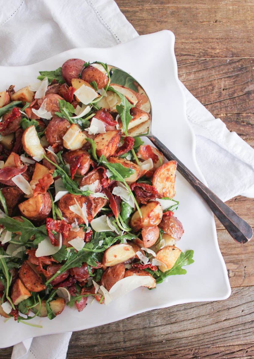 Warm Roasted Potato and Arugula Salad | Domesticate-Me | Low FODMAP Recipes