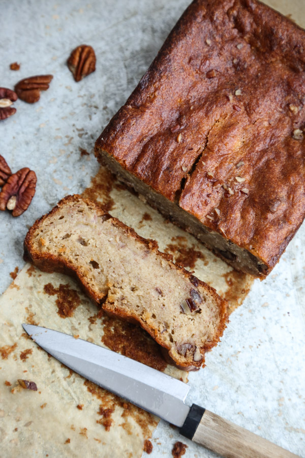 Easy Maple-Pecan Gluten-Free Banana Bread Recipe | www.FeedMePhoebe.com