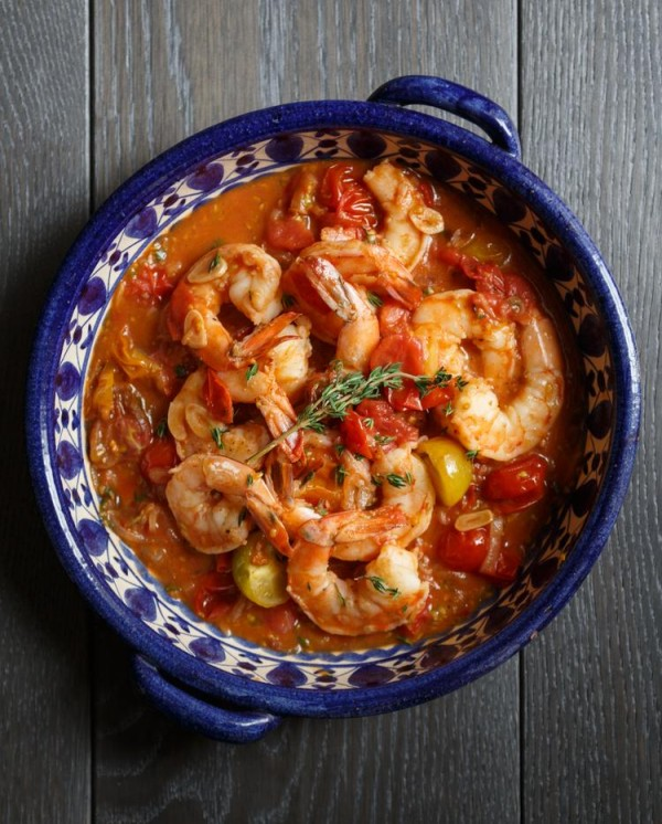 The Best Garlicky Shrimp with White Wine and Tomatoes | The Yellow Table | 25 Best Healthy Boozy Recipes for Whiskey, Tequila, Rum and Beyond
