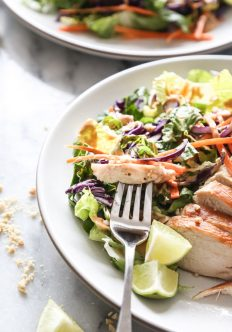 Easy Asian Chicken Salad with Peanut Dressing
