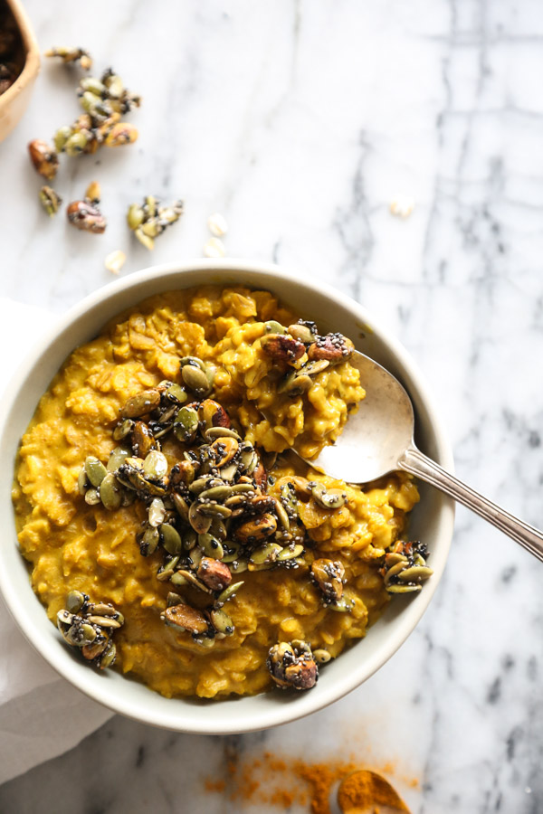A Vegan Golden Milk Oatmeal Recipe | Gluten-Free Healthy Breakfast Idea from www.feedmephoebe.com