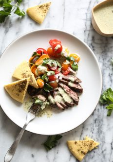 Herb Marinated Steak Gyros Plates with Tomato-Onion Salad and Green Tahini Sauce
