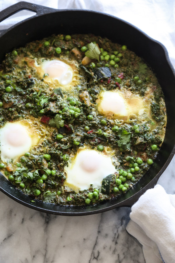 Green Israeli Shakshuka Recipe with Chard, Peas, and Zucchini | Feed Me Phoebe