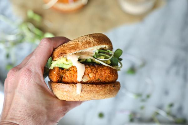 Cauliflower Sweet Potato Burgers - a rare PALEO veggie burger | Gluten-free, Vegetarian | Feed Me Phoebe