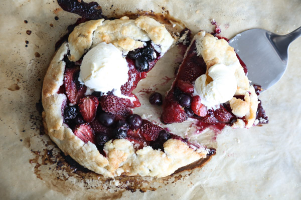Red, White and Blueberry Galettes | A Gluten-Free Tart, Packed with Strawberries, Topped with Vanilla Ice Cream, and Perfect for the Fourth of July | Feed Me Phoebe