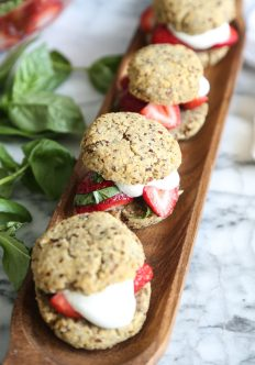 Gluten-Free Strawberry Shortcakes with Basil, Tequila and Hazelnuts