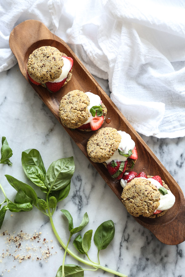 Gluten-Free Strawberry Shortcakes | Berried Macerated with Basil, Tequila and Honey | Shortcakes Made From Hazelnut Flour! An Easy Paleo Dessert Recipe | Feed Me Phoebe