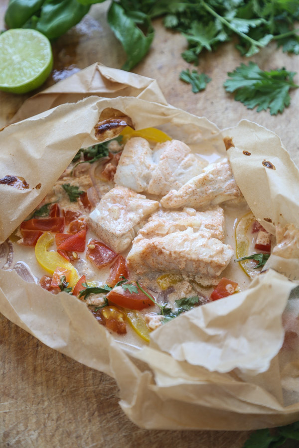 Moqueca Fish Packets with Coconut Milk and Tomatoes | A Quick, Easy Spin on the Classic Brazilian Fish Stew Recipe| Healthy Seafood | Feed Me Phoebe