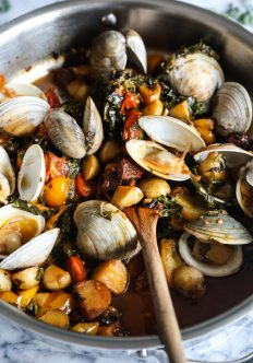 Steamed Clams with Chorizo, Tomatoes and Kale