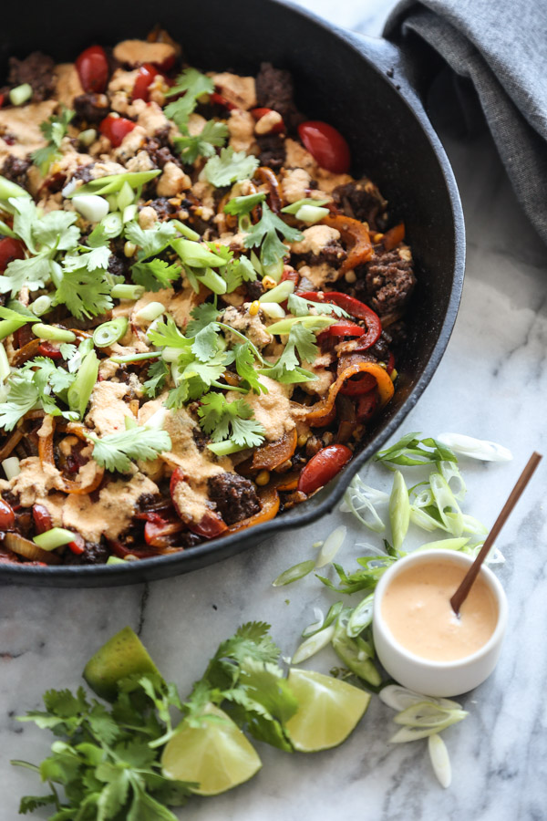 Spiralized Bell Pepper and Beef Taco Skillet with Fresh Corn, Avocado and Chipotle Cashew Cream | Feed Me Phoebe
