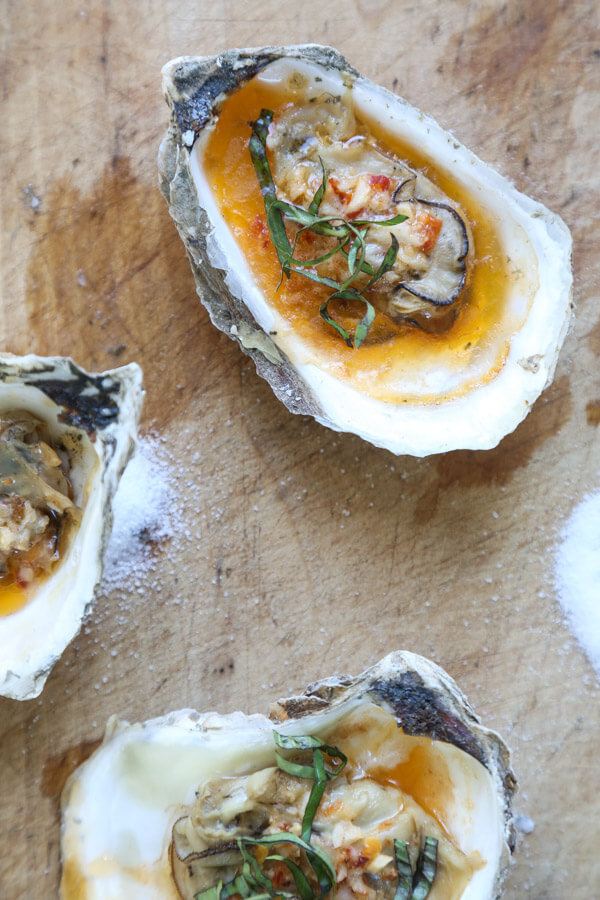 Grilled Oysters with Chipotle Bourbon Butter