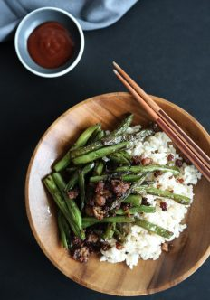 Chinese Stir Fry Green Beans with Pork, Ginger and Chiles