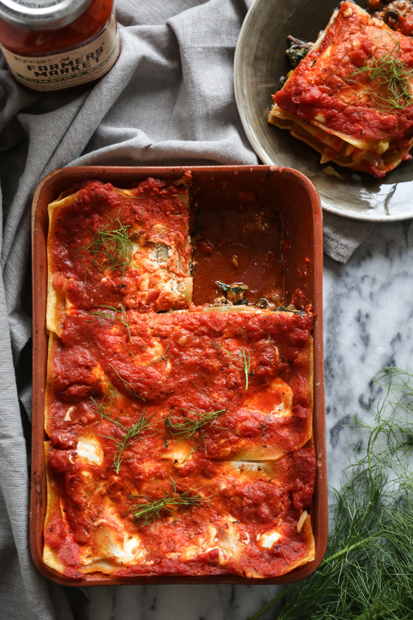 This Greek Lasanga recipe with ground lamb, chard and fennel is a healthy gluten-free spin on two wonderful Mediterranean casseroles: moussaka & pastitsio | Feed Me Phoebe