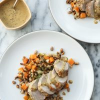 Sheet Pan Roasted Pork Tenderloin with Squash, Black-Eyed Peas and Mustard Sauce