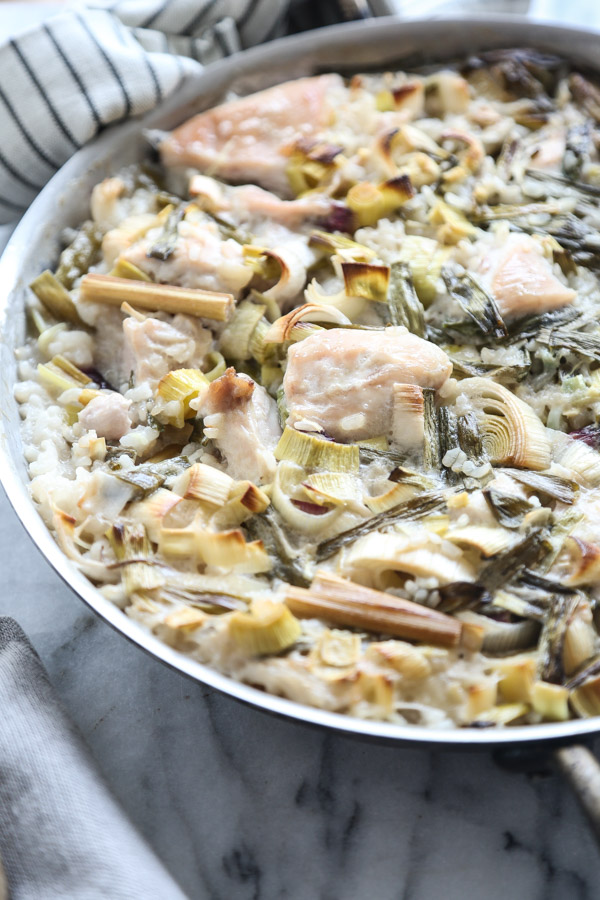 This gluten-free chicken and rice casserole recipe uses the flavors from Thai tom kha gai coconut milk soup instead of the standard cream of chicken! So full of flavor. | Feed Me Phoebe