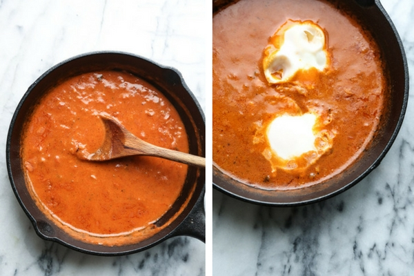 Masala-Style Baked Eggs in Purgatory - an Indian spin on the classic Italian baked egg recipe with coconut cream, garam masala and cumin. An easy fast recipe for a vegetarian dinner or weekend brunch. | Feed Me Phoebe