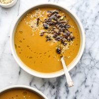 Vegan Butternut Squash Soup with Crispy Brussels Sprouts and Ginger