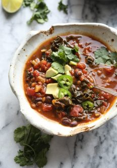 Slow Cooker Lentil Chili with Black Beans, Pumpkin, and Kale