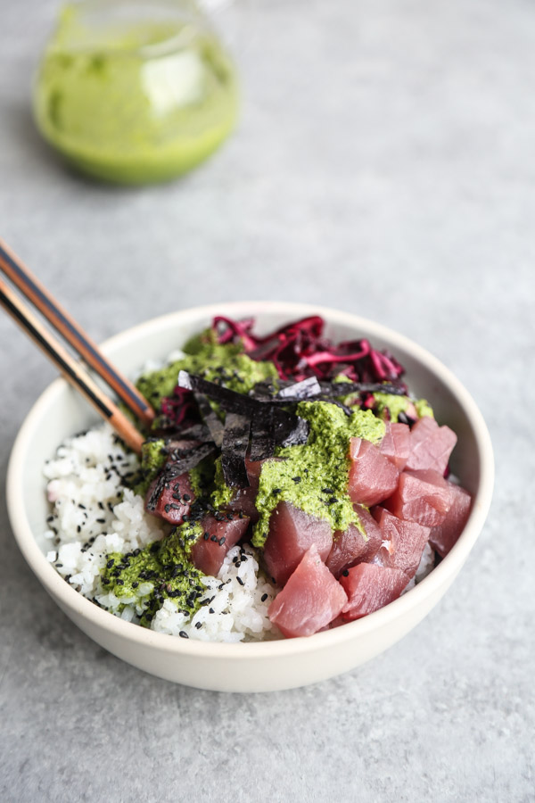 Ahi Tuna Poke Recipe with Pickled Cabbage and Cilantro-Ginger Sauce | Easy Bowls | Feed Me Phoebe