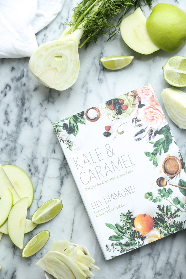 This fresh limeade recipe from the #KaleandCaramelCookbook is made naturally sweet and anise-y thanks to apple and fennel. It's an inspired combination and can be made in a blender! @kaleandcaramel