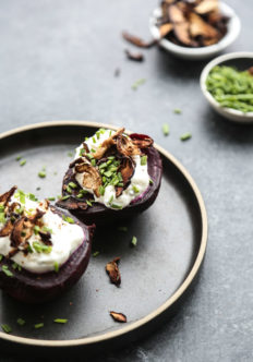 Loaded Baked Potato Beets with Garlicky Yogurt and Shitake Bacon