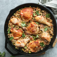 Harissa Moroccan Chicken Recipe with Dates, Pistachios and Cauliflower Couscous
