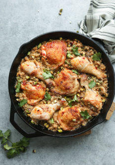 Harissa Moroccan Chicken with Dates, Pistachios and Cauliflower Couscous
