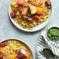 Saffron Risotto with Lemony Braised Spring Vegetables (+ The Hard Choices We Make Around Health)