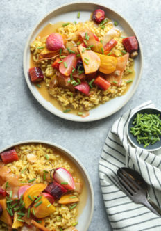Milanese Saffron Risotto Recipe with Lemony Braised Spring Vegetables | Feed Me Phoebe #glutenfree