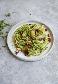 Charred Leek Pesto Pasta Salad with Almonds