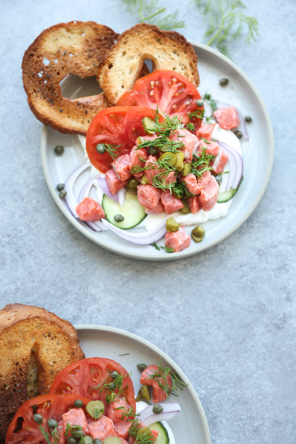 Dill Pickle Salmon Ceviche Recipe with Gluten-Free Bagel Chips | Healthy, Easy, Summer Appetizer