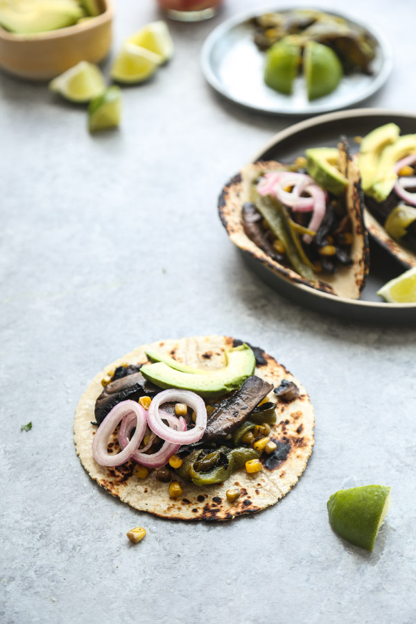 Portobello Mushroom Tacos Recipe with Charred Corn and Poblanos | Gluten-Free, Healthy, Vegetarian, Vegan | Feed Me Phoebe