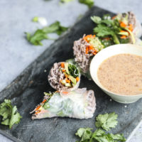 Fresh Sesame Soba Spring Rolls with Almond Butter Dipping Sauce