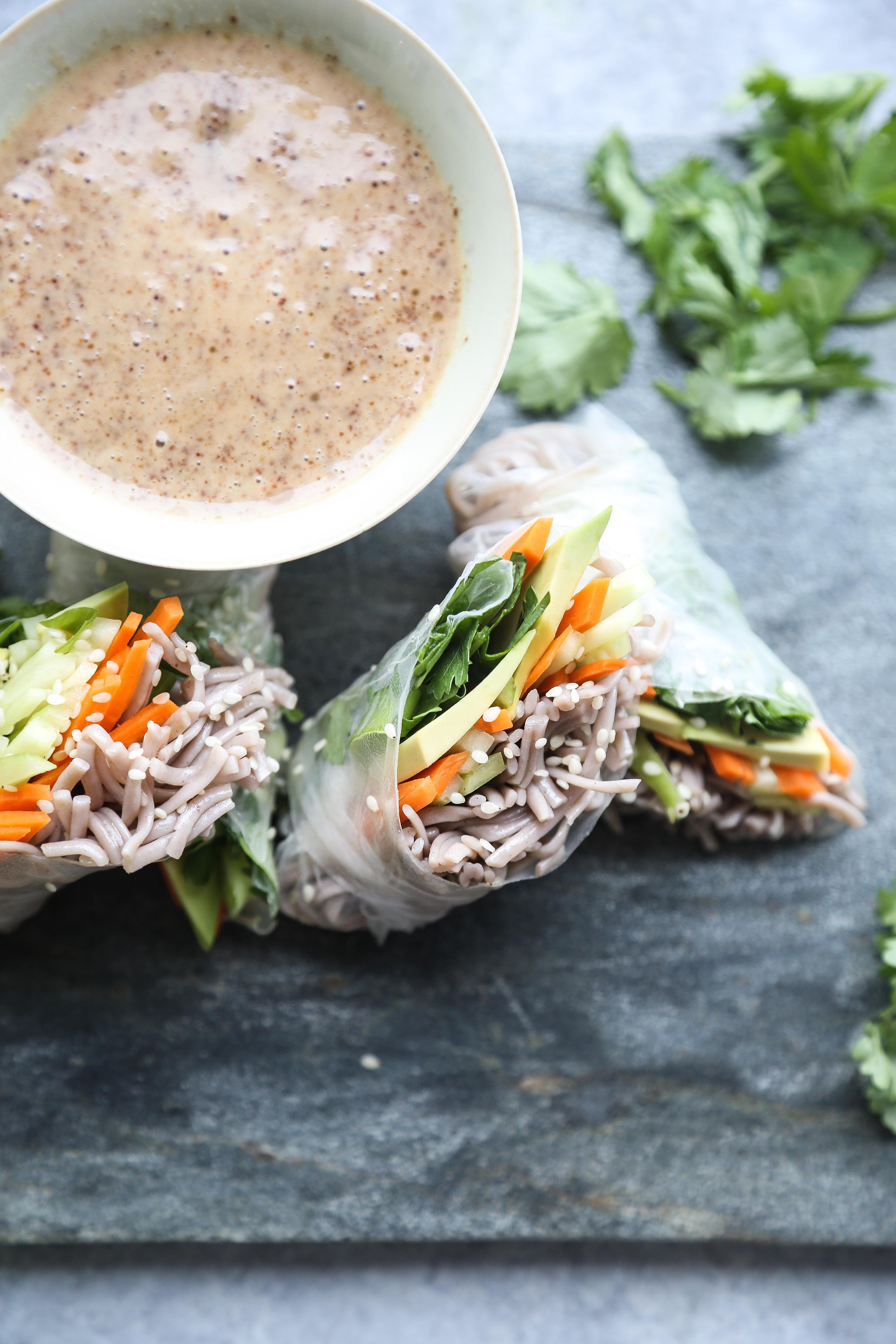 Fresh Soba Noodle Spring Rolls with Almond Butter Dipping Sauce from @CookieandKate #LoveRealFood Cookbook | Gluten-Free, Healthy, Vegetarian