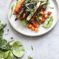 Spicy Summer Chickpea Stew with Roasted Carrots, Spinach and Za'atar