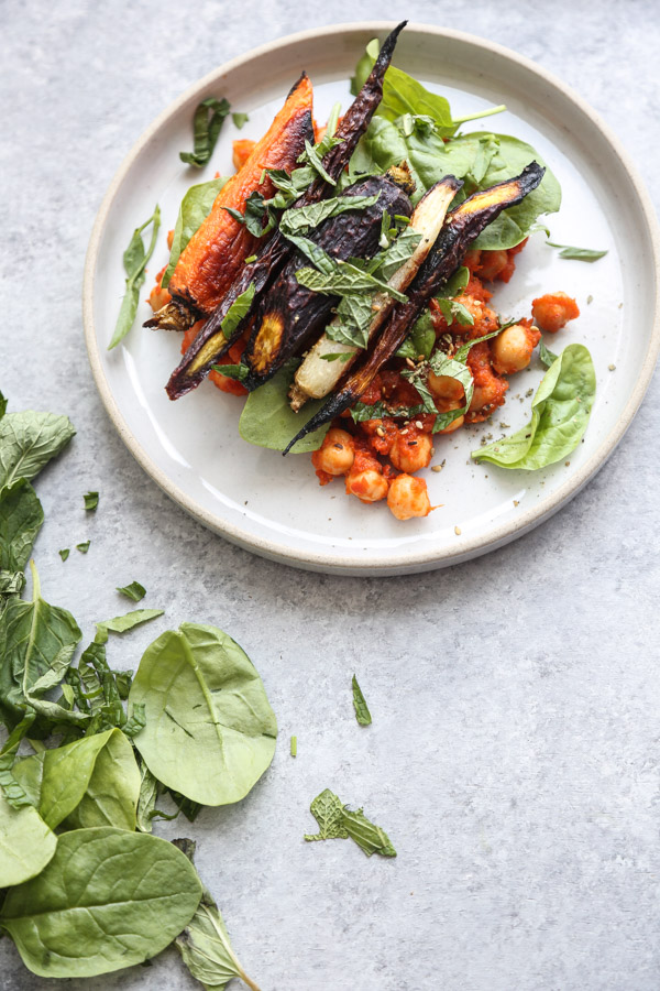 Spicy Chickpea Stew Recipe with Roasted Carrots, Spinach and Za'atar | Healthy, Vegan, Vegetarian, Gluten-Free | Feed Me Phoebe