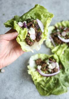 Moroccan Lamb Lettuce Wraps with Ras El Hanout and Lemon-Mint Aioli
