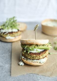 Gluten-Free White Bean Zucchini Burgers with Green Olive-Basil Aioli