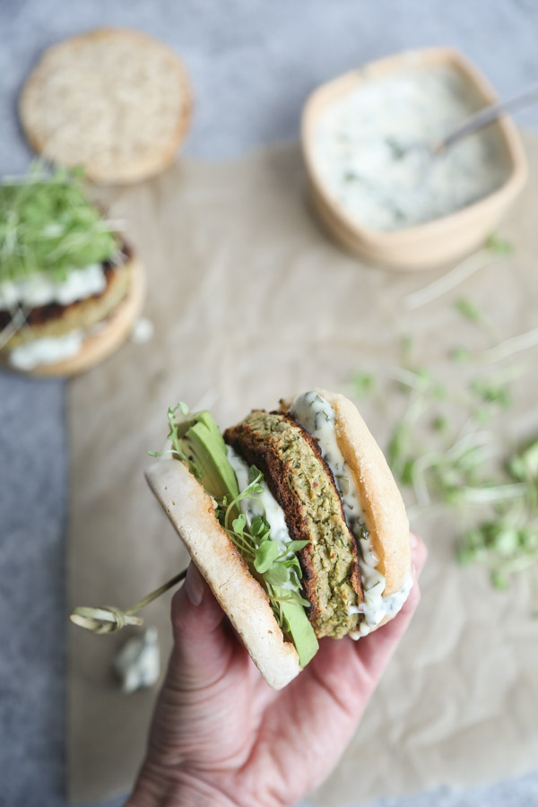 White Bean Zucchini Gluten-Free Veggie Burgers with Green Olive Basil Aioli | Healthy, Grain-Free, Vegetarian