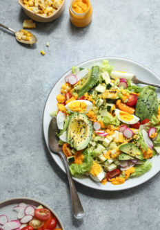 End of Summer Cobb Salad with Creamy Carrot-Kimchi Dressing