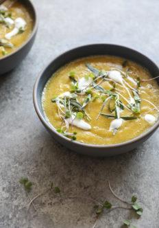 Easy Golden Beet Soup with Tarragon Yogurt